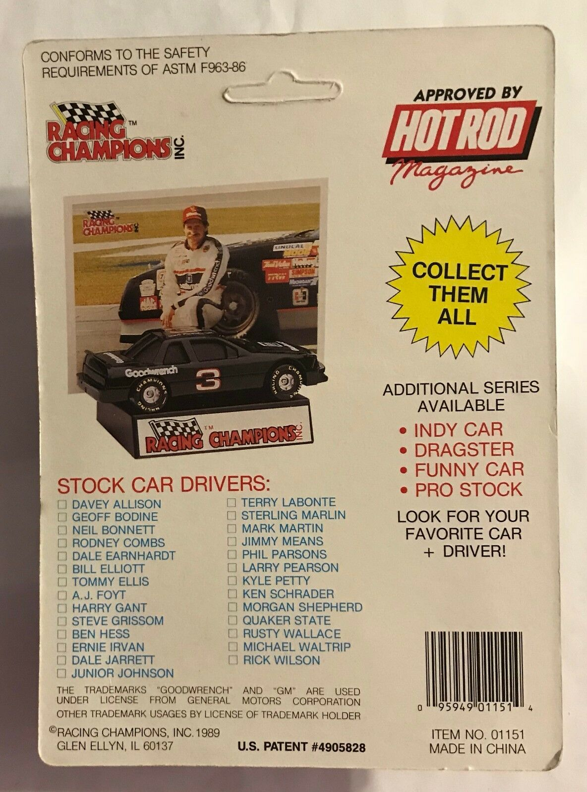 1989 RUSTY WALLACE  SERIES 1- RUBBER RUBBER RUBBER TIRE -  NEW PONTIAC  a83caa