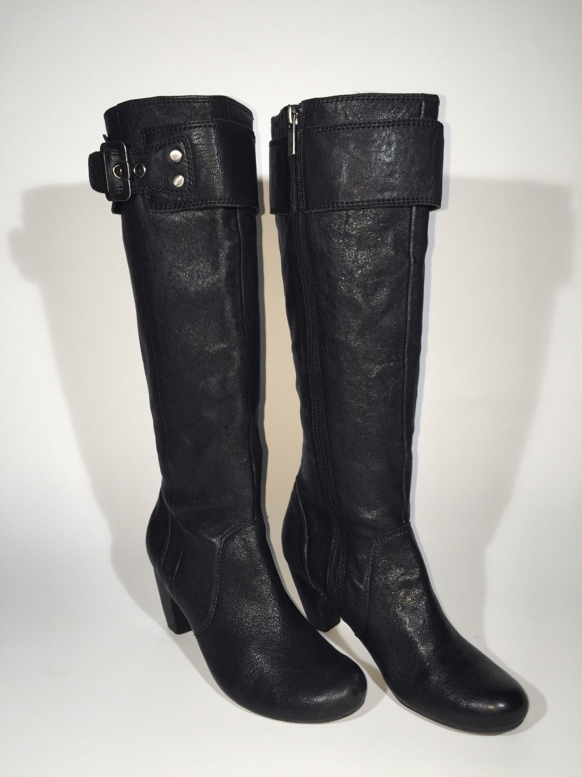 Kenneth Cole Reaction Boots Iconic Black Leather Knee-High Boots Size 7 M