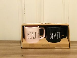 Rae-Dunn-By-Magenta-LL-Pink-BEAUTY-Black-BEAST-Matte-Finish-Mug-Set-of-2-HTF