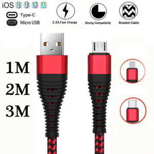 Heavy-Duty-Braided-Long-Chargeing-Micro-USB-Sync-Charger-Cable-Samsung-1M-2M-3M