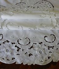 Handmade Round Tablecloth Wedding Garden Party Heavy Cotton Fabric Vintage 165cm