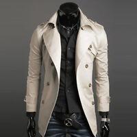 Stylish New Pea Coat Trench Coats Mens Slim Double Breasted Jacket Long Coats