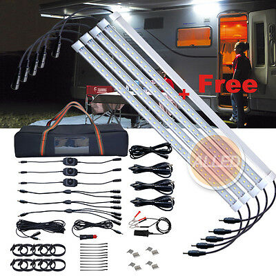 4+1 500MM LED Waterproof Joinable Camping Strip Light Dimmable Outdoor/Boat/RV
