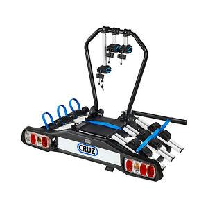 Cruz-Fahrradtraeger-Anhaengerkupplung-mit-Beleuchtung-Pivot-3-Fahrraeder-Hecktraeger