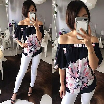 Navy Spring Floral off the shoulders women top Blouse 8 10 12 14 NEW