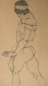Egon-Schiele-Left-Border-Female-Nude-Hand-Signed-Lithograph