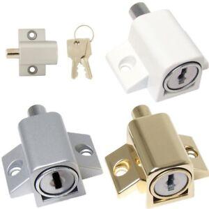 Sliding Patio Door Lock Additional Security Key Locking Press Bolt All Colours Ebay