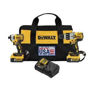 DEWALT-20V-MAX-XR-Hammer-Drill-Impact-Driver-Combo-Kit-DCK299P2LR-New
