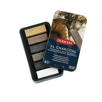 Chunky Fine Art Charcoal Blocks Derwent XL Charcoal Tin of 6 Shades