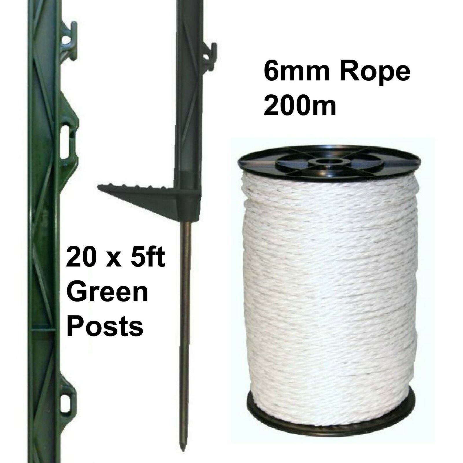 20 X verde 5FT POSTS & 6MM POLY ROPE Electric Fence Fencing Horse Paddock