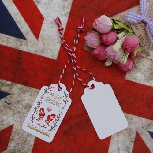 50pcs Weihnachten Kraftpapier Geschenkanhänger Label Hanging Cards mit StringZBD