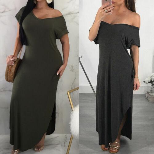 Women Off Shoulder Short Sleeve Bodycon Ladies Evening Long Maxi Dress Plus Size