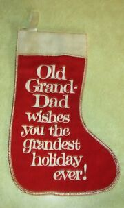 Rare-Vintage-Old-Grand-Dad-Kentucky-Whiskey-Red-Felt-Christmas-Stocking