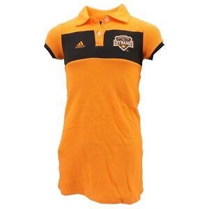 premium selection 69e79 1f2cd Details about Houston Dynamo Official MLS Adidas Youth Kids Girls Size Polo  Dress New Tags