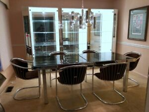 Details About Gastone Rinaldi Italian Modern Chrome Gl And Suede Dining Table 6 Chairs
