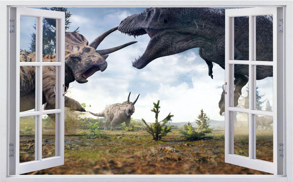 Lotta Dinosauri T-REX DINO MAPPAMONDO Muro Tatuaggio Parete Adesivo Parete Adesivo f0571