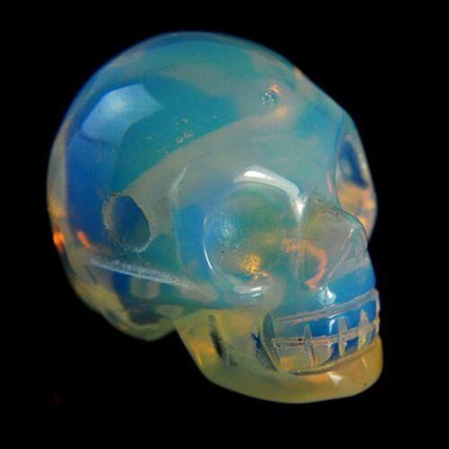 Muy Hermosa ópalo de cabeza Esqueleto Tallado Opalite Colgante Perla 28x27x20mm HKL12