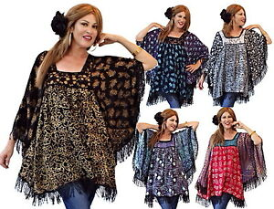 Moda Donna Camicetta Lagenlook N791 Tunica Lace Lotustraders Trim Batik Top Mto 8xFwp6qC