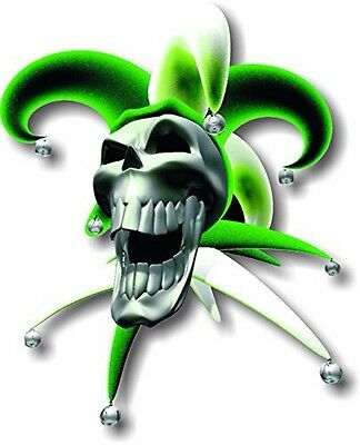 facing right Vinyl sticker//decal Small 90mm jester laughing skull green