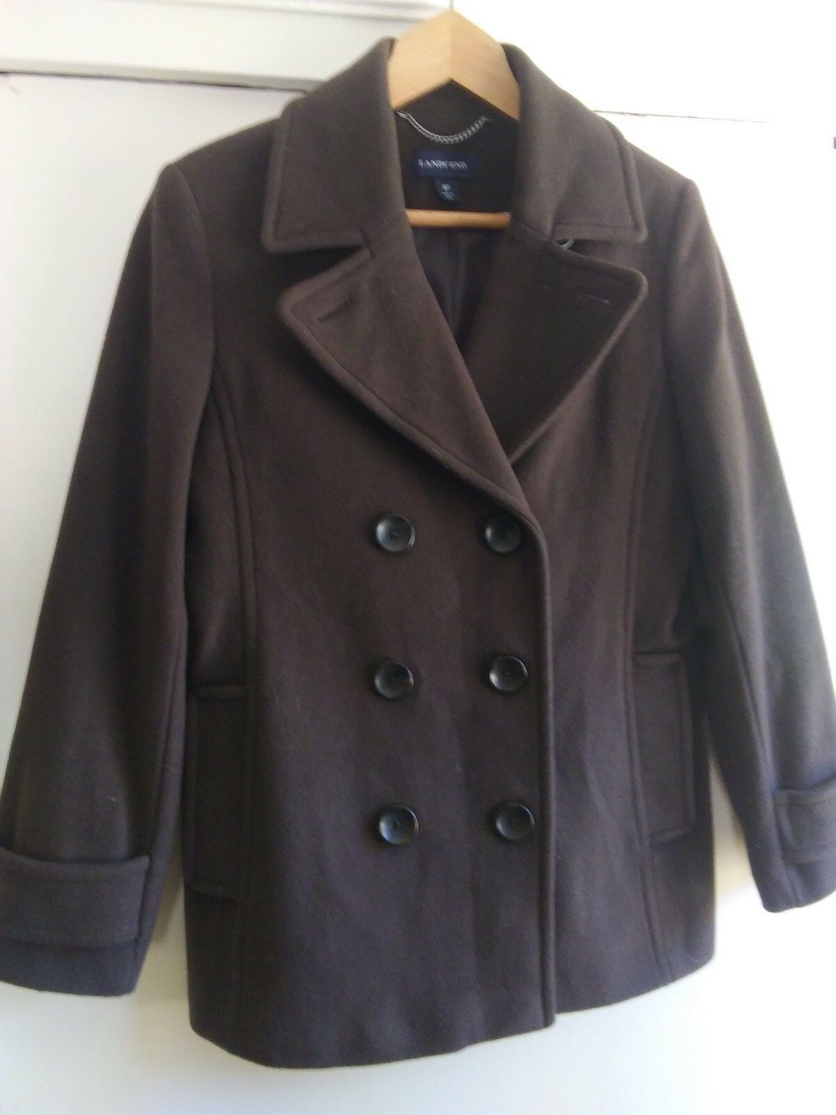 Lands' End Brown Peacoat Women's Size 8P Wool Cashmere Blend