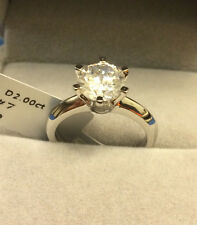 1.5 CT ROUND CUT DIAMOND SOLITAIRE ENGAGEMENT RING 14K WHITE GOLD ENHANCED 5.5