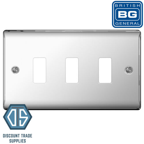 BG Nexus Métal Chrome Poli 3 Gang Métal COUVERTURE Plaque GNPC 3