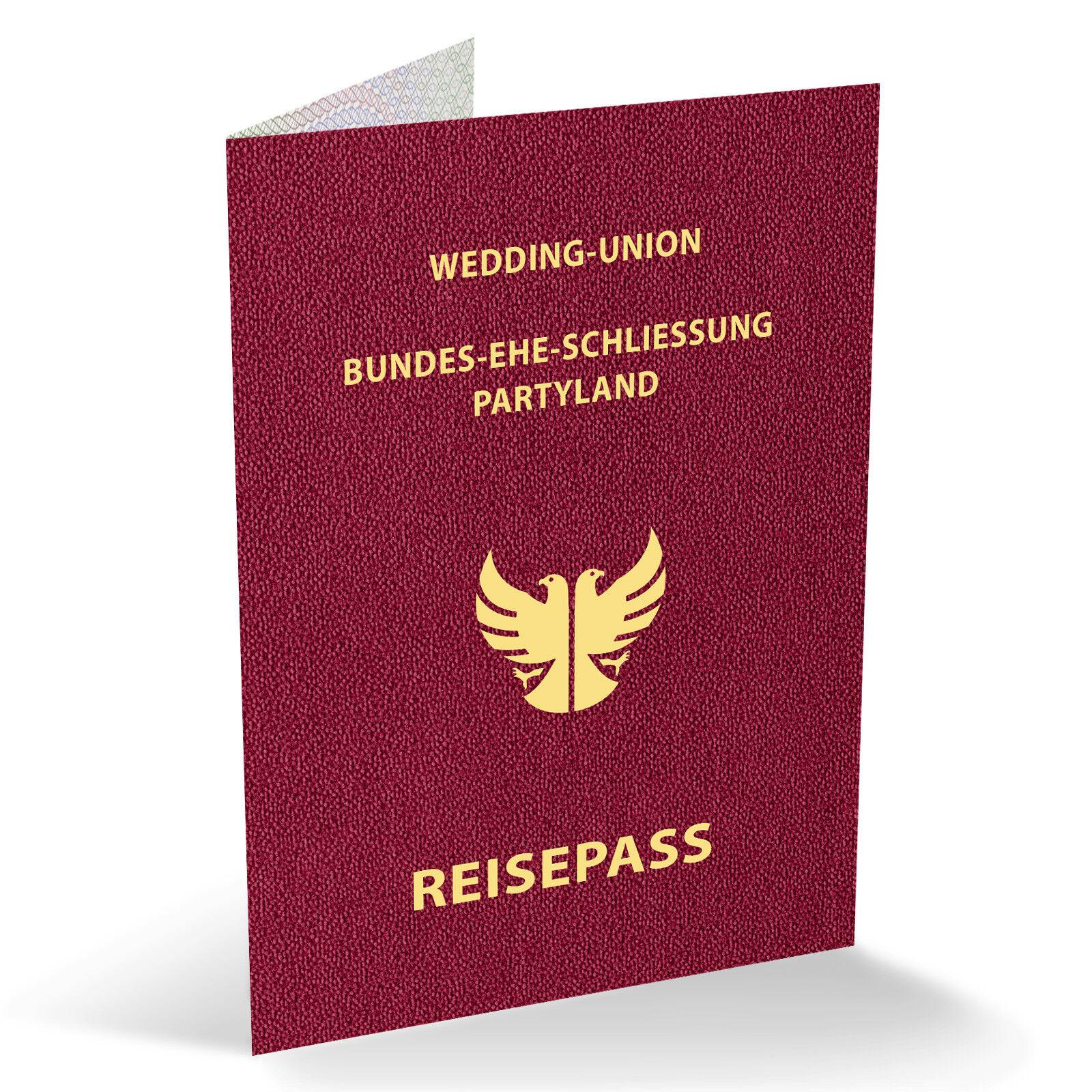 Save The Date Einladungen als Reisepass Ausweis Passport Partypass Klappkarten   | Fuxin  | Feinbearbeitung