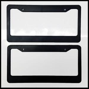 Black Blank License Plate Frame Set Truck Plain Plastic