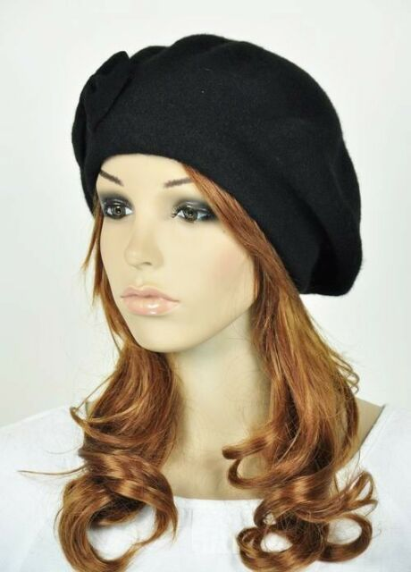 82081b22 M10 Cute Bow All-Purpose Wool Acrylic Women's Winter Hat Beanie Beret Cap  BLACK