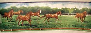 Brown-Horses-Running-Wallpaper-Wall-Border-5-yds-Imperial-Inc-New