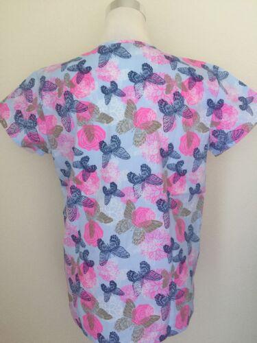 Black Gold Butterfly Pink Flower Print Nursing Medical Scrub Top Uniform TYJ3103