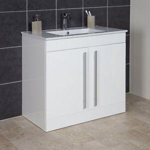 900mm white gloss floor standing 2 door bathroom vanity