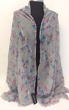Lady Women Summer Cotton Voile Scarf Wrap Birds Print Silk Chiffon Shawl ,Gray