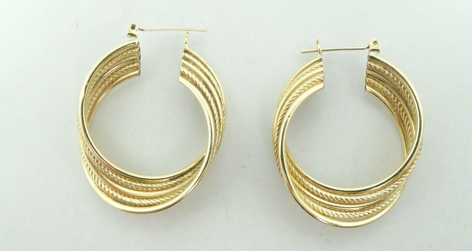 Elegant 14K Ygold 5 Tube Smooth & Rope Twisted Hoop Earrings 1.4  6.4g D8657
