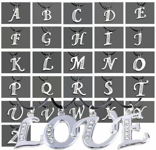 A-Z INITIAL LETTER ALPHABET PENDANT CHARM NECKLACE CLEAR CRYSTALS HOT FASHION