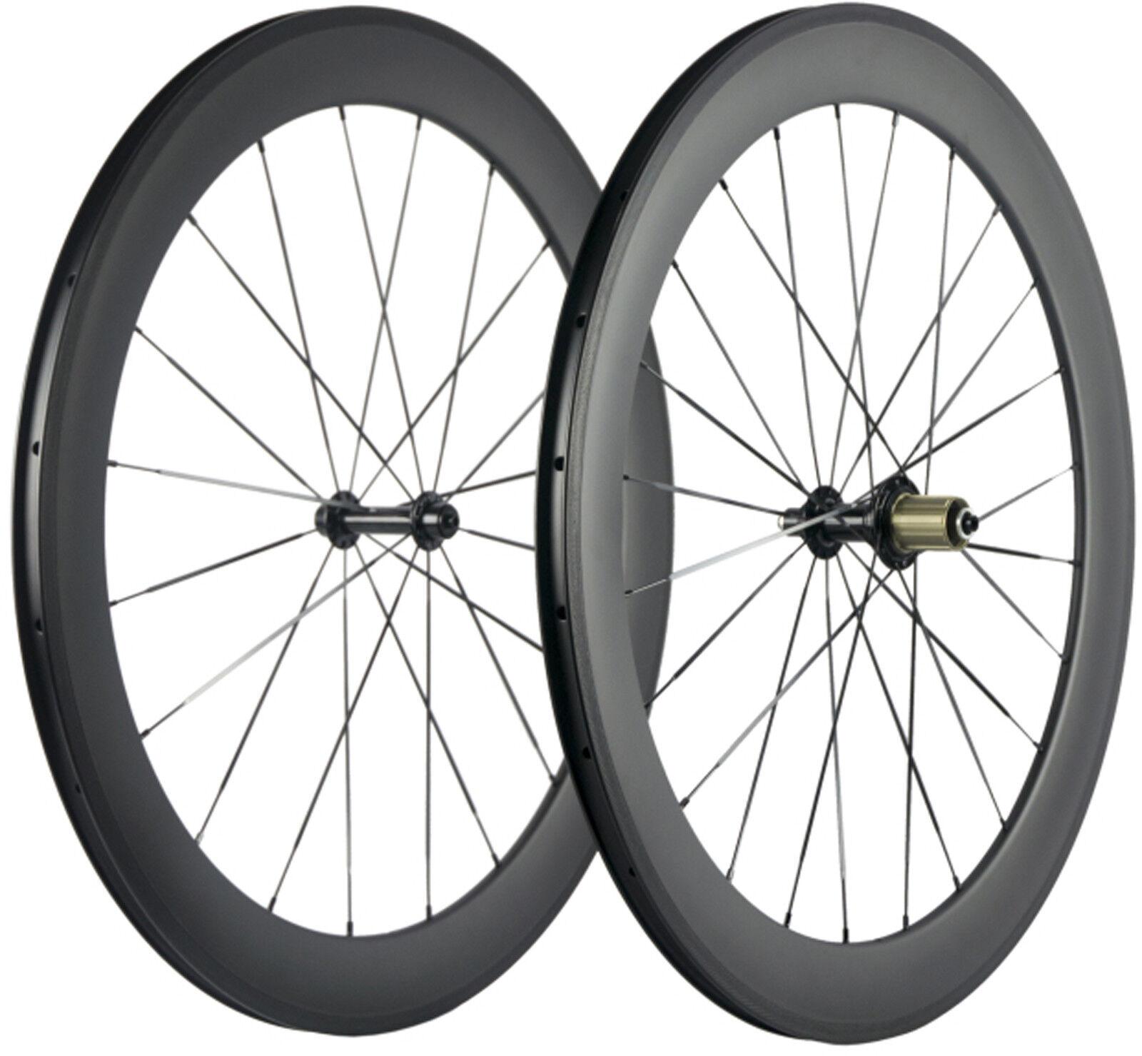 60mm  Depth Clincher Full Farbon Wheels Road Bike Bicycle Wheelset UD Matte 700C  shop online