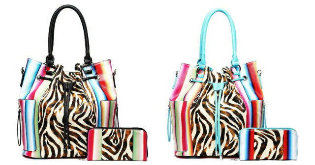 9acca98c3a8e Cowgirl Trendy Serape Aztec Zebra Handbag Purse Shoulder Bag Wallet Western  Set