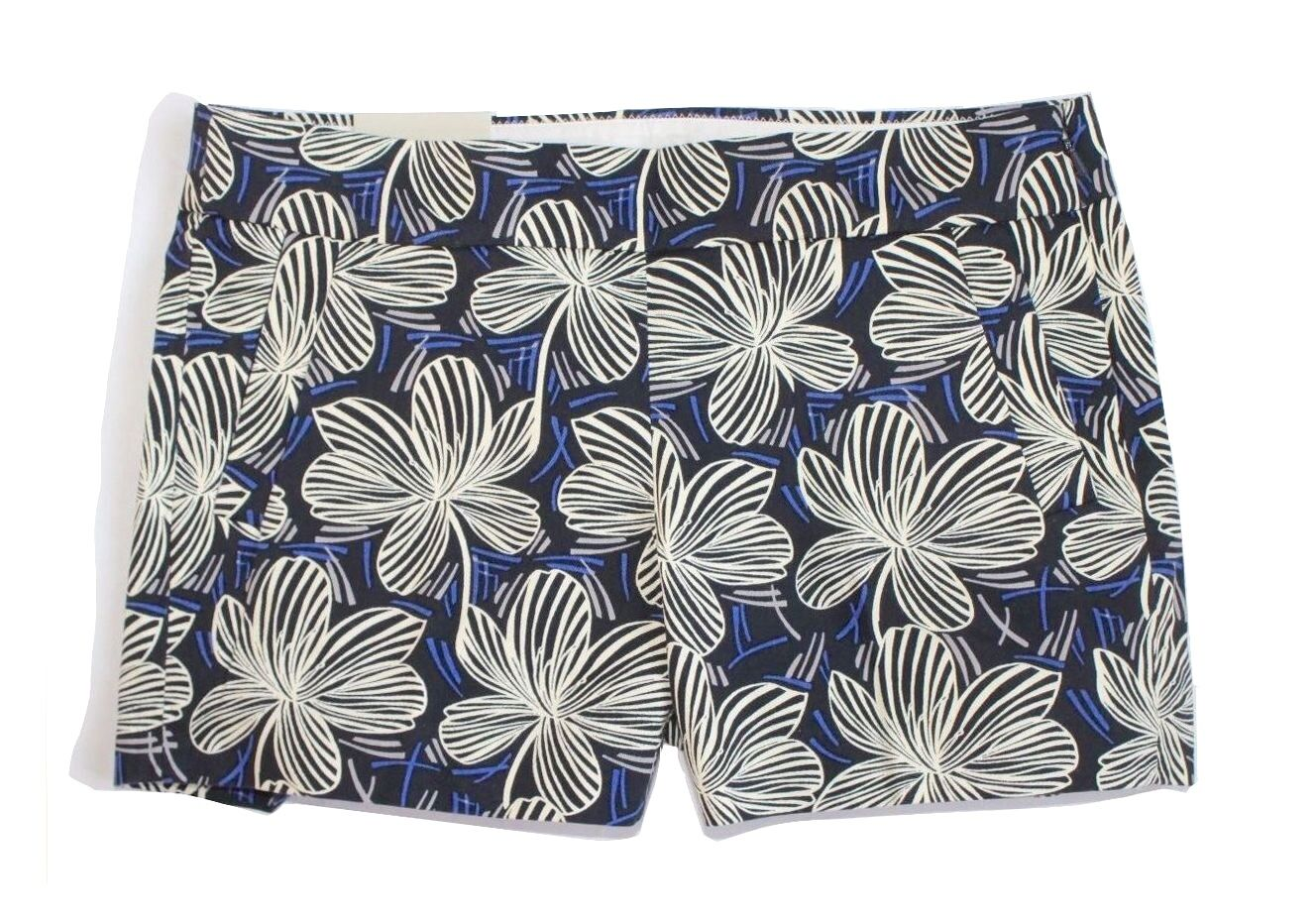 J Crew Factory - Women's 12 (L) - NWT - bluee Hibiscus Floral Print Cotton Shorts