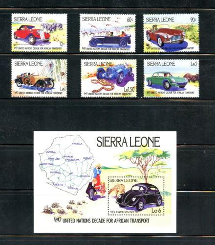 Sierra Leone 1984 #625-31 autos transport maps set & sheet MNH H469