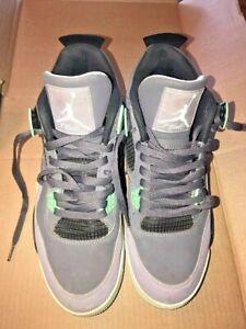 Nike-Mens-Air-Jordan-4-Retro-Dark-Grey-Green-Glow-Cement-Grey-308497-033-Size-11