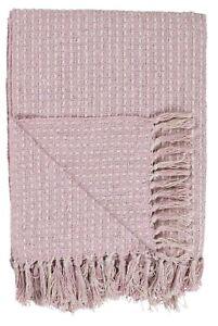 Plaid-Decke-graublau-hellrosa-rosa-creme-m-Fransen-IB-Laursen-130-x-160-cm