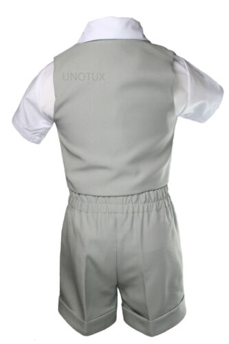 Baby Boy Toddler Formal Silver Vest Gray Shorts Suit Extra Bow Tie 7pc Set S-4T