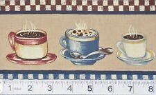 "Love My Coffee Cups Saucers on Tan 4"" x 36"" (yard) Fabric Trim Cotton Crafting"
