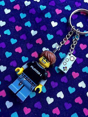 Video Gamer Guy Figure Keychain...Handmade using LEGO® parts