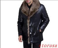 Mens Jacket Men's Fur Coat Fur Lined Leather Sheepskin Coats Plus Size S-5XL New