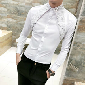 58904a8035b Image is loading Men-Gothic-Steampunk-Shirt-Silk-Satin-Sequins-Modern-