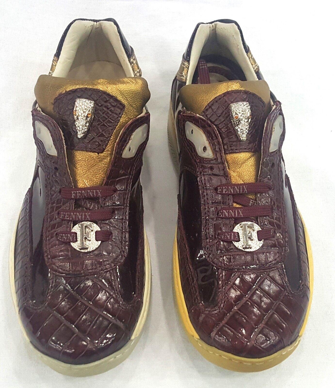 FENNIX ITALY WOMEN'S BURGANDY NAPPA PATENT CROC SNEAKER Schuhe BURGANDY WOMEN'S SIZE 5 5187cb