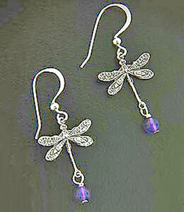 Image Is Loading Sterling Silver Dragonfly Earrings With Amethyst