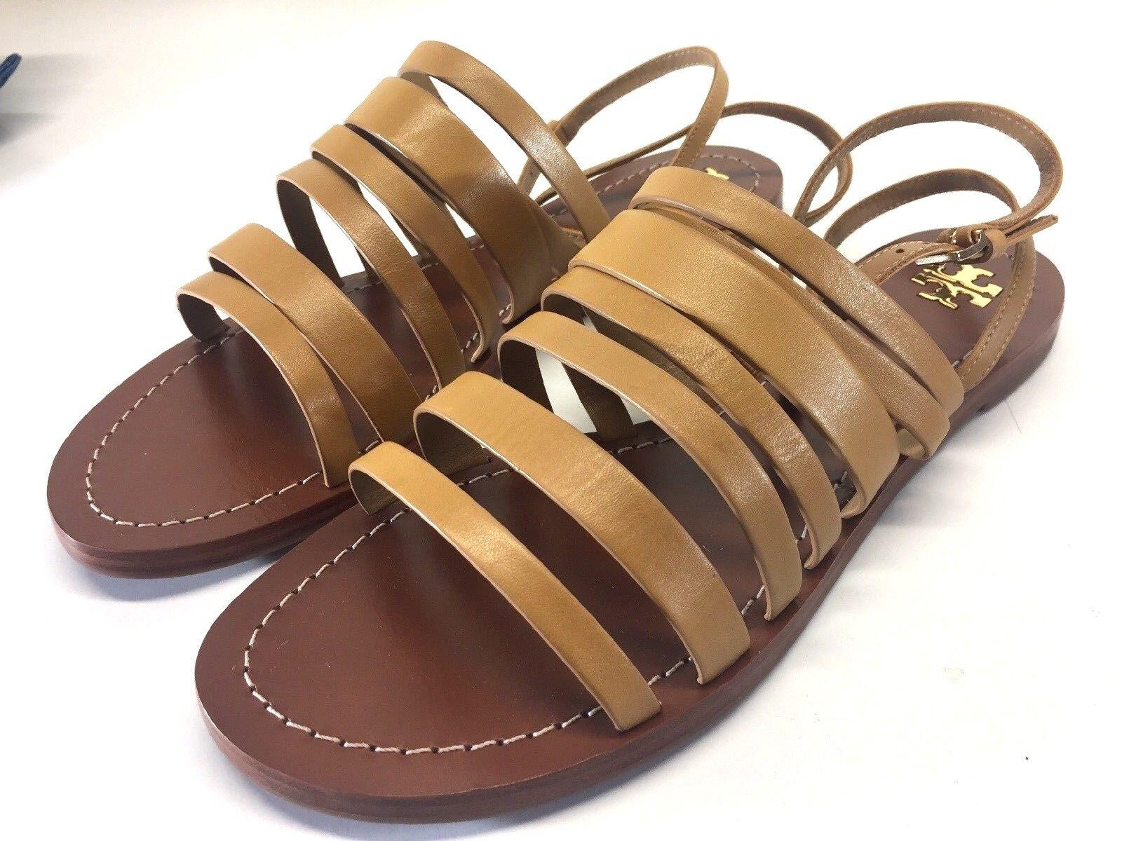 New Tory Birch Birch Birch Patos Ankle Strap US 11 EU 41 Sandals Navy Blond Flats scarpe Logo 9ed1cd