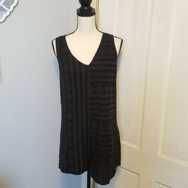2786aa03428 Roxy Women s By My Side Black Embroided Romper Anthracite Size Medium New